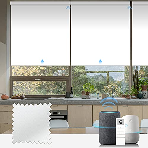 Graywind Motorized Roller Shade Blinds 100% Blackout Shades Cordless Waterproof Remote Control Window Automated Blinds with Valance Custom Size for Smart Home and Office, White