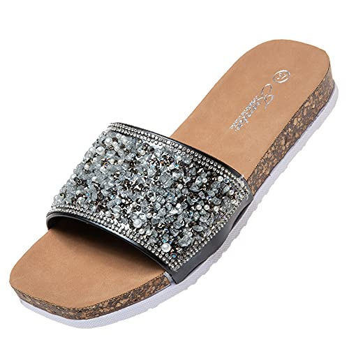 Jomix Ciabatte Donna Estive Comode Pantofole Elegante Sandali a Punta Aperta con Decorazioni Strass SD2105 (Nero, 39)