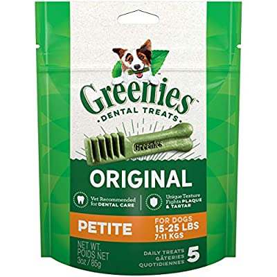 Greenies Original Dental Dog Treats, Petite Size for Dogs 15-25 Lbs, 3 Oz Pouch (5 Treats)