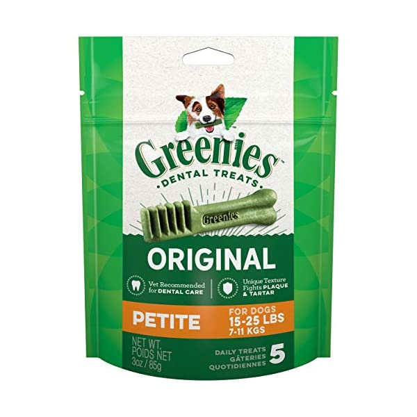 Greenies Original Petite Natural Dental Dog Treats (15 – 25 lb. dogs)