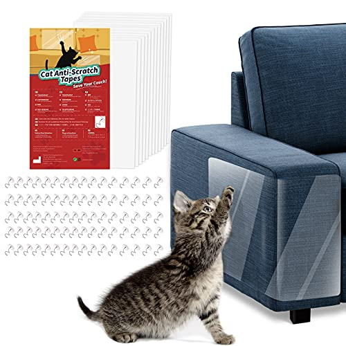 VavoPaw Katze Kratzschutzfolie, 12 Stück Transparent Sofa Kratzschutz Pad Möbelschoner Katze Möbelschutz Kratzpads mit 80 Schrauben Krallenschutz für Möbel Couch Tür Wand Kratzabwehr von Katzen Hunde
