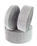 TBUY Rhinestone Ribbon 3 Rolls 10 Row, 8 Row, 4 Row 10 Yard Acrylic Bling Diamond Roll for Wedding Birthday Baby Shower Decorations, Silver