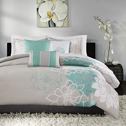 Madison Park Lola Cotton Duvet-Modern Large Floral Trendy Design All Season Comforter Cover Bedding Set with Matching Shams, Decorative Pillows, Full/Queen(90