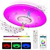 Plafonnier LED, 24W Luminaire Plafonnier avec Haut-parleur Bluetooth Musiqu, Plafonnier Chambre RGB avec télécommande et contrôle APP, Plafonnier Interieur 3000-6500K pour Chambre Enfants, Salon