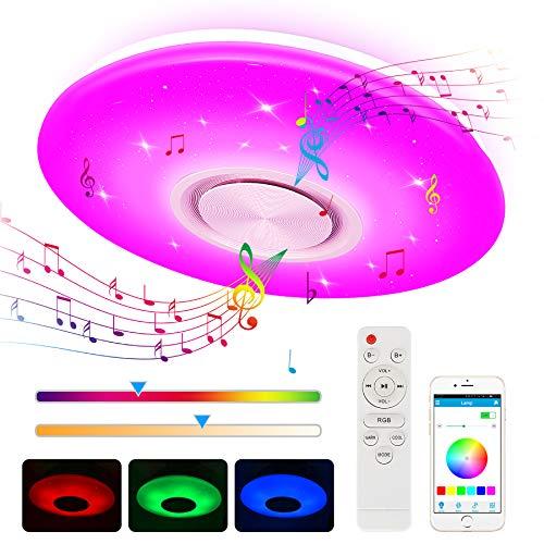 Plafoniera LED, Zorara 24W Plafoniera Bagno Moderna con Altoparlante Bluetooth, Plafoniera LED Soffitto con Telecomando/APP Controller Dimmerabile RGB 3000-6500K per Camera Letto Cucina Salone