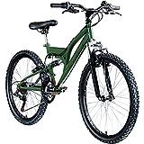 Galano FS180 24 Zoll Mountainbike Full Suspension Jugendfahrrad Fully MTB Kinder ab 8 Jahre Fahrrad (Khaki, 37 cm)