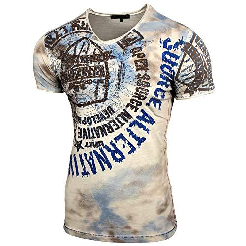 Herren V-Neck Strass Vintage T-Shirt Kurzarm Slim Fit Design Fashion Top Print Strass Shirt 15163, Größe:XL, Farbe:Beige