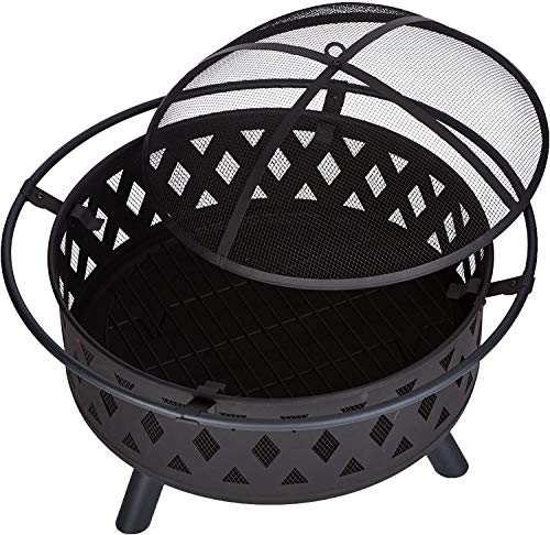JFJL Fire Pit Set, Wood Burning Pit - 32 Inch Round Crossweave Firepit - Includes Screen, Cover And Log Poker - Great for Outdoor And Patio
