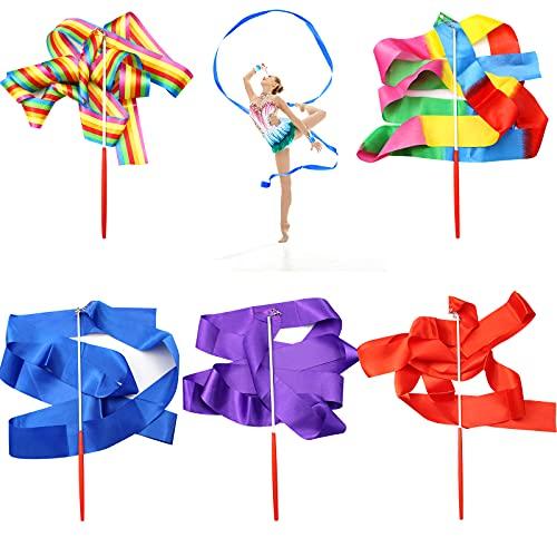 hocadon 5 Pezzi Nastro Ginnastica Ritmica Bambina, Nastro Danza Ritmica 2 Metri, Nastri da Ballo Streamer per Bambini Danza Artistic,con Impugnatura Antiscivolo, Multicolore