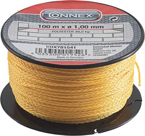 Connex Maurerschnur gelb - 100 m Länge - Ø 1,0 mm - Polyester - Knotenfest - Reißfest & Belastbar - Auf Spule / Richtschnur / Bauschnur / Lotschnur / Pflasterschnur / COX781541