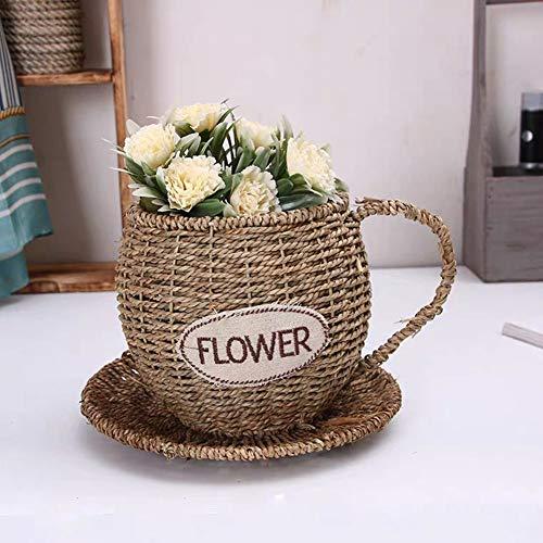 Woven Flower Basket Teacup Planters with Saucer Natural Water Plants Flower Container Handmade Plant Pot Kitchen Living Room Garden Restaurant Décor (1PC)