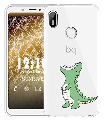 Sunrive Für BQ Aquaris C Hülle Silikon, Transparent Handyhülle Schutzhülle Etui Hülle für BQ Aquaris C(TPU Dinosaurier)+Gratis Universal Eingabestift
