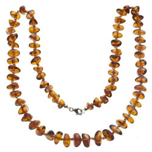 InCollections Damen-Bernsteinkette 80 cm mit Federringverschluß Silber vergoldet