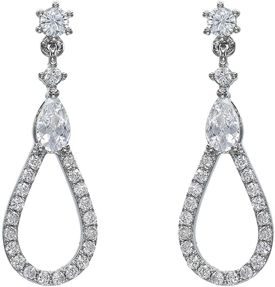 BEAUPORT   White Gold Plated   Cubic Zirconia   Water Drop Design started from One Cubic   Drop & Dangle Earrings   Earrings for Women Girls