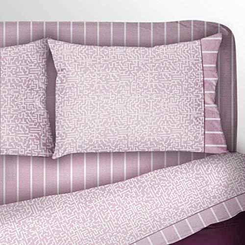 Juego de sábanas para cama de matrimonio, individual, 1 plaza y media, color rosa