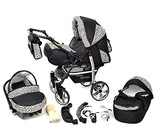 Sportive X2, 3-in-1 Travel System incl. Baby Pram with Swivel Wheels, Car Seat, Pushchair & Accessories (3-in-1 Travel System, Black & Leopard)