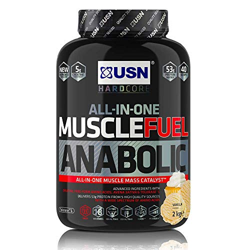 USN Muscle Fuel Anabolic Vanilla Protein Shake 2KG: Workout Boosting All in One Muscle Gain Protein Powder