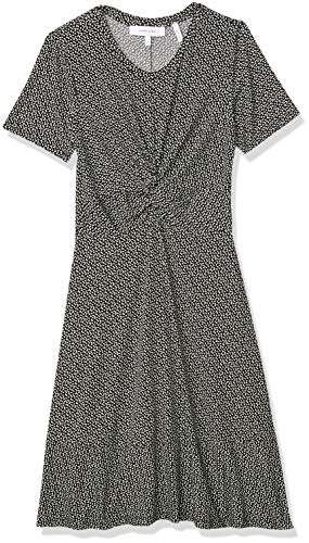 Amazon Brand – Lark & Ro Women's Short Sleeve Twist Front Fit and Flare Dress