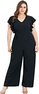 Femmes Casual Solid Couleur Manchon de Lanterne Col en V Romper Tenique Femmes Combinaisons Ensembles Wide-Legged Pantalons Stretch Loose Jumpsuits Outfits