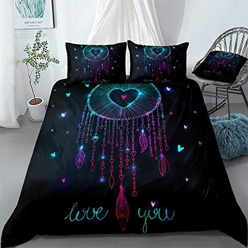 Chanyuan Traumfänger Bettbezug Liebe Muster 135x200 cm, 2 Teilig Schwarz Bettwäsche Set Mädchenbettwäsche Kinderbettwäsche Weich Mikrofaser Exotisch Stil Federn mit Reißverschluss