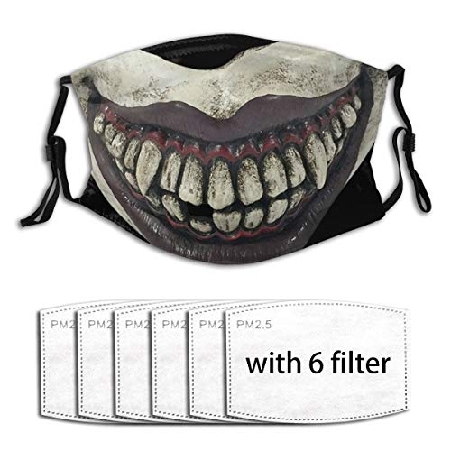 YDAJERE Evil Clown Mouthpiece Rubber Joker Face Killer Jester Smile Mouth Joke Men Women Adjustable Earloop Face Mouth Anti Pollution Washable with 6 Filters