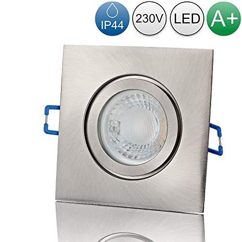 lambado® Premium LED Spot IP44 Edelstahl gebürstet - Hell & Sparsam inkl. 230V 5W GU10 Strahler warmweiß - Moderne Beleuchtung durch zeitlose Bad-Einbaustrahler/Deckenstrahler für Außen