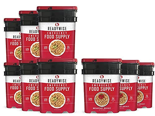ReadyWise Long Term Emergency Food Supply, Breakfast and Entree Variety (9...