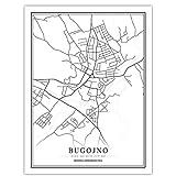 Bosnien-Herzegowina Schwarz Weiß Welt Stadtplan Poster Nordic Wohnzimmer Sarajevo Wandkunst Bilder Wohnkultur Leinwand Malerei M 16X20 inch (40X50 Cm)
