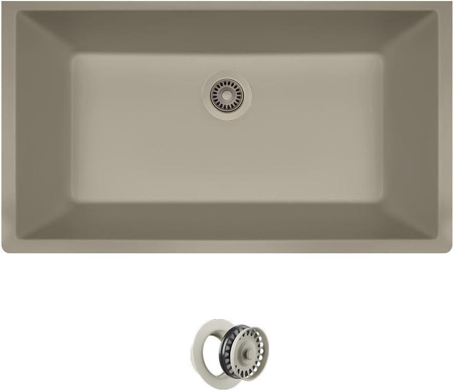 MR Direct 848-ST-CFL Quartz Granite 倉 評判 Sink 1 with Flange Kitchen