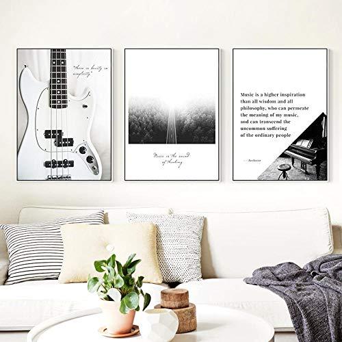 Noir Blanc Guitare Piano Notes Oiseaux Brouillard Route Minimaliste Mur Art Toile...
