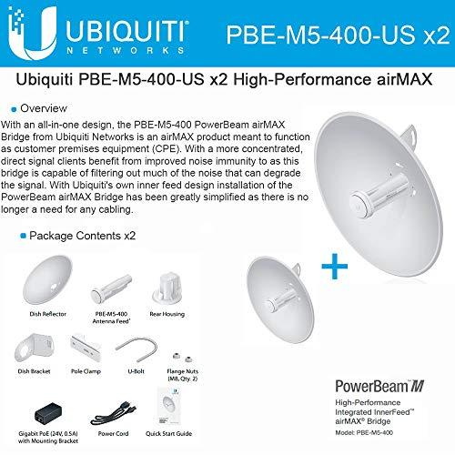 Ubiquiti PBE-M5-400 (2-pack) PowerBeam M5 25dBi 5GHz AirMAX CPE 400mm 150+ Mbps