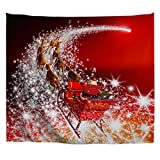A.Monamour Red Backgrounds Santa Claus Riding The Sleigh Reindeer Pulling The Sleigh On Starry Way Picture Print Wall Hanging Tapestry Art Decors For Bedroom