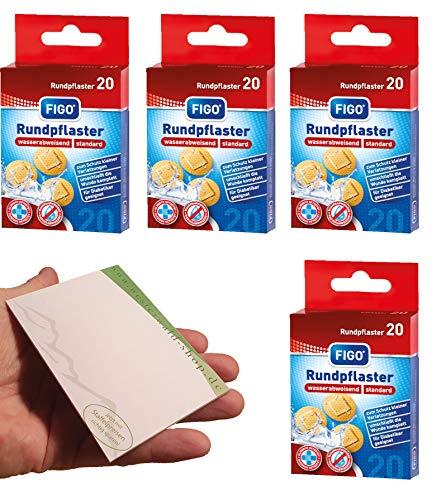varivendo Notizblock und Figo Wund-Pflaster 20er Rund Hautfarben Rundpflaster (80 Pflaster)