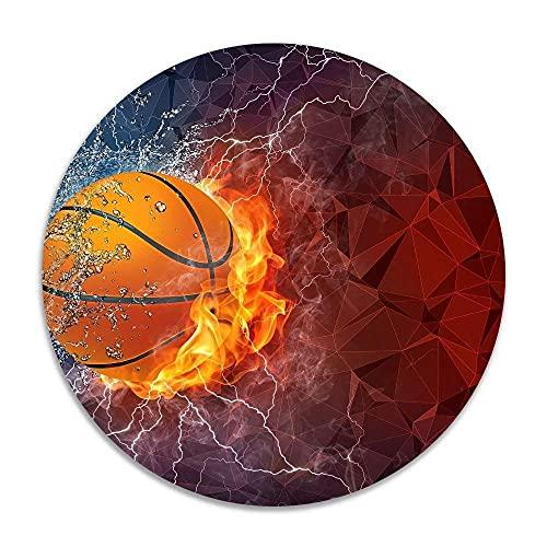 Basketball Ball Lightning Fire Rutschfeste Korallensamt runde Teppiche Memory Foam Bodenteppiche Matten Durchmesser Schlafzimmer Teppich Yoga Stuhl Matte Fußmatte