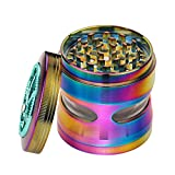 Golden Bell Grinder 4 piece 2.5' Spice Herb Grinder with Pollen Scraper and Clean Brushes- Rainbow Color