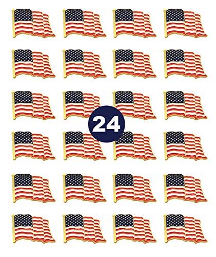 24 Pack American Flag Lapel Pins -USA Metal Enamel Waving Flag Pins US Patriotic Badge