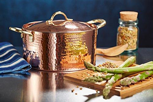 Thick Hammered Copper Soup Pot Stew Pan Casserole, 3.4 Quart