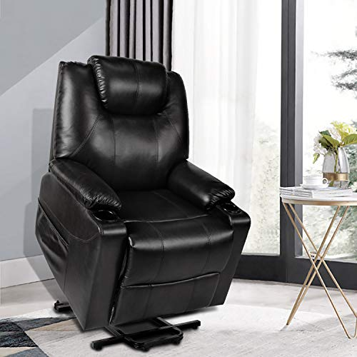 Recliner Chair Power Lift Recliner PU Leather Single Sofa for Elderly Ergonomic Lounge Chair for Living Room with 2 Cup Holders Side Pockets Home Theater Seat (Black)