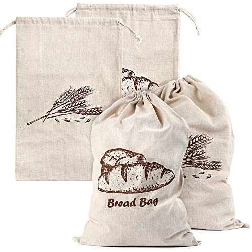 Linen Bread Bags for Homemade Bread, 4 Pcs 17.5 X11.5 Inches Unbleached & Reusable Bread Storage, Natural Large Storage for Artisan Bread