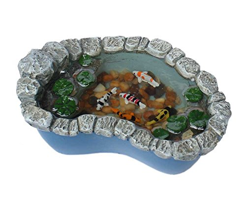 Georgetown Miniature Fairy Garden Koi and Lily Pad Pond Furniture Gnome Figurine Statue Sculpture for Home Terrarium Yard Patio and Lawn Outdoor Decor Supplies Accessories