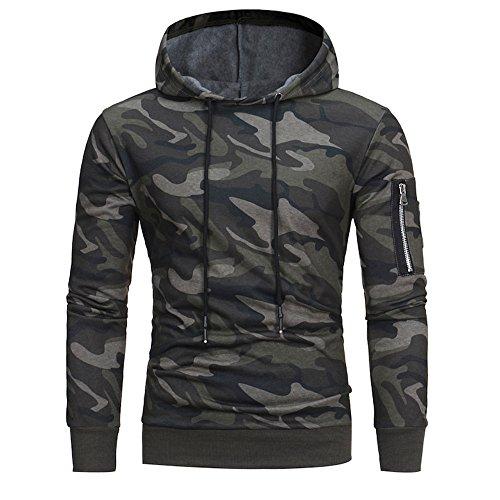 Kobay Hommes Manche Longue Camouflage À Capuche Sweat Tops Veste Manteau Outwear(FR-58/CN- XXXL,Camouflage)
