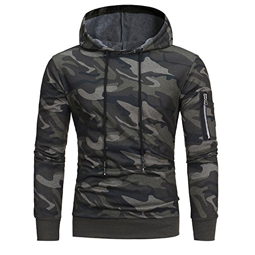 KaloryWee Mens Long Sleeve Hoodie Camouflage Sweatshirt Sports Pullover Spring Autumn Winter Lightweight Casual Slim Fit…