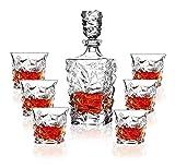 Whisky Decanter Premium Whisky Decanter Set El plomo Conjunto libre de 4 gafas sofisticadas para el whisky, Scotch, Bourbon, Ron en una vasos whisky cristal RVTYR