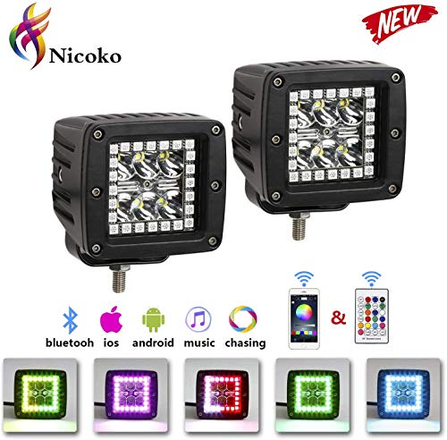 "Nicoko 18w 3"" Led Work Light with Chaser RGB Halo 10 Solid Colors Over 72 Flashing Modes Headlights Frontlights Flasing Strobe Lights IP 68 Waterproof Free Wiring Harness 1 Year Warranty"
