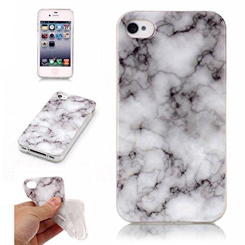pinlu® Etui Handyhülle Für iPhone 4 4S 4G Weich TPU Silikon Ultra Dünn Protective Case Marmor Backcover Kratzfeste Entwurf Marble Linien Muster Grau Weiß