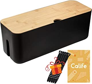 Cable Management Box by Calife, Cords Organizer Hide Wires Power Strips Chargers, Bamboo Lid, Surge Protectors Storage for...