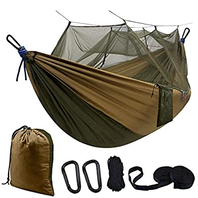 Hammock Camping Single & Double with Mosquito/Bug Net and Tree Straps & Carabiners | Easy Assembly |Lightweight Portable Parachute Nylon Hammock for Camping, Backpacking,Travel, Khahi/Green