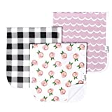 Copper Pearl Bébé Burp Cloth Grand 21''X10 '' Taille de prime Absorbent triple couche 3 Pack Set cadeau pour les filles « Rosie Set »