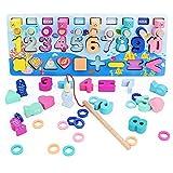 Jeux Montessori 3 en 1 Jouets Bois Numéro Blocs Perles Jeu de Pêche Magnétique Montessori Éducatif Cadeaux pour Enfants 3 4 5 6 Ans Garçons Filles (Planche)