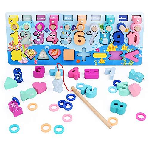 Symiu Montessori Puzzle Giochi Legno Magnetica Pesca Giocattoli mit Anelli impilabili e 10 Pesci, 10 Numero di Legno, 6 in 1 Magnetici Educativo Giochi da Tavolo per Bambini 3 4 5 Anni